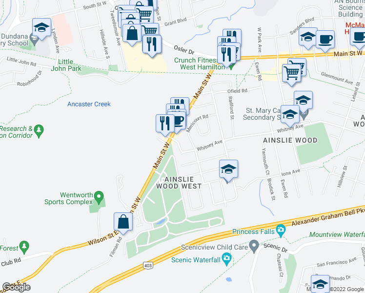 map of restaurants, bars, coffee shops, grocery stores, and more near 418 Whitney Avenue in Hamilton