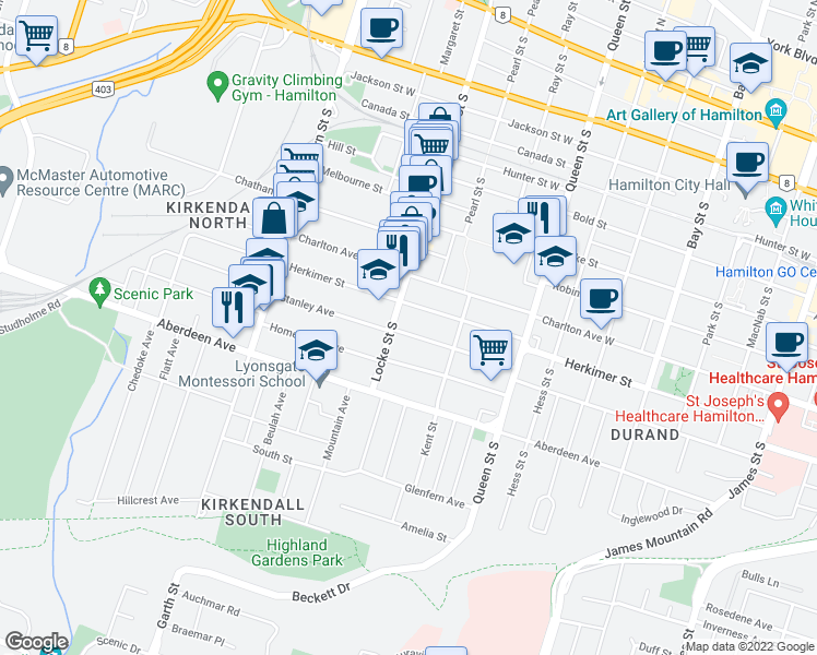 map of restaurants, bars, coffee shops, grocery stores, and more near 88 Stanley Avenue in Hamilton