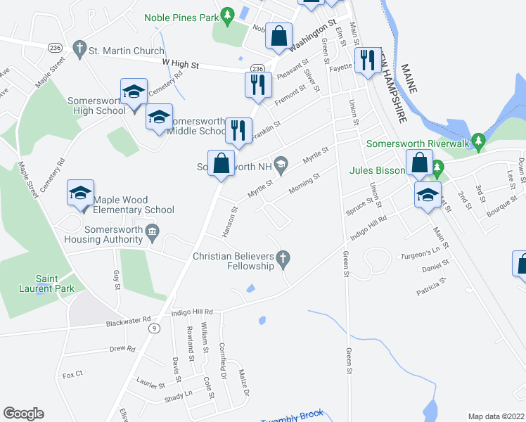 map of restaurants, bars, coffee shops, grocery stores, and more near 11 Nash Park Way in Somersworth