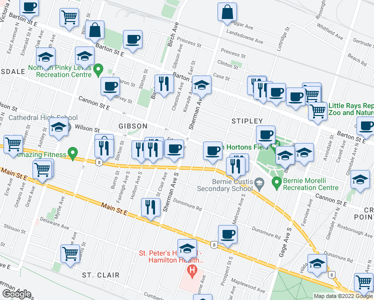 map of restaurants, bars, coffee shops, grocery stores, and more near 38 Sherman Avenue North in Hamilton