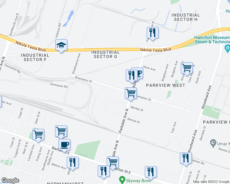 map of restaurants, bars, coffee shops, grocery stores, and more near 1690 Brampton Street in Hamilton