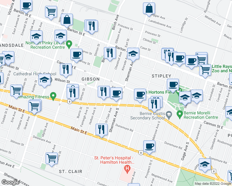 map of restaurants, bars, coffee shops, grocery stores, and more near 697 Wilson Street in Hamilton
