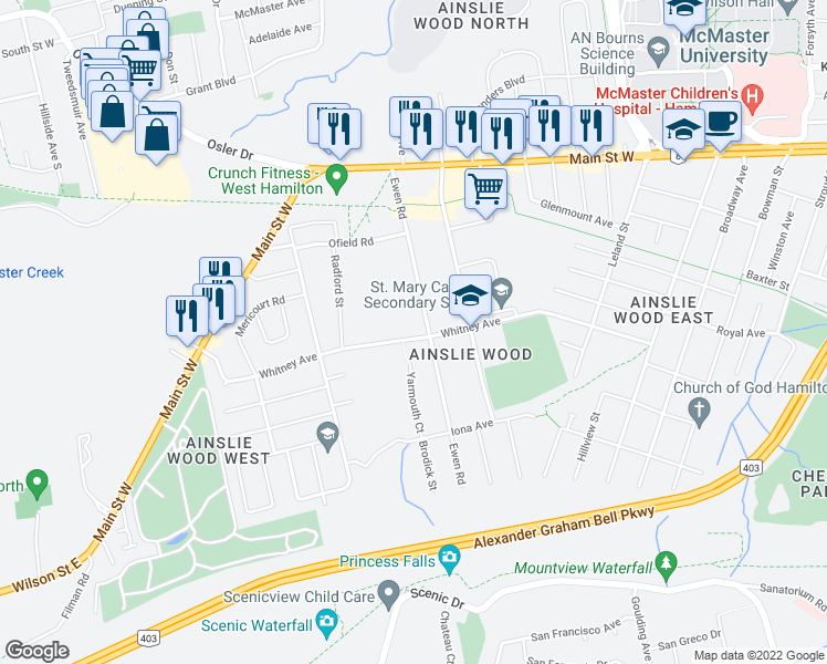 map of restaurants, bars, coffee shops, grocery stores, and more near 308 Whitney Avenue in Hamilton