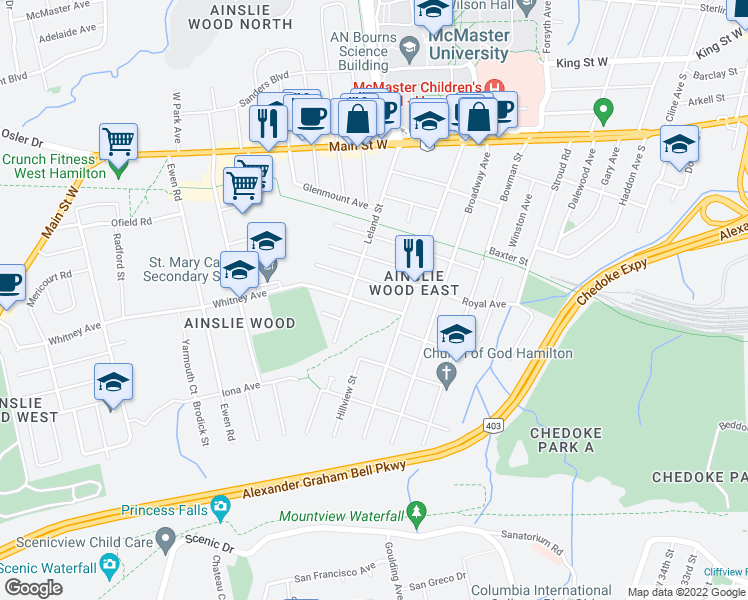 map of restaurants, bars, coffee shops, grocery stores, and more near 81 Whitney Avenue in Hamilton