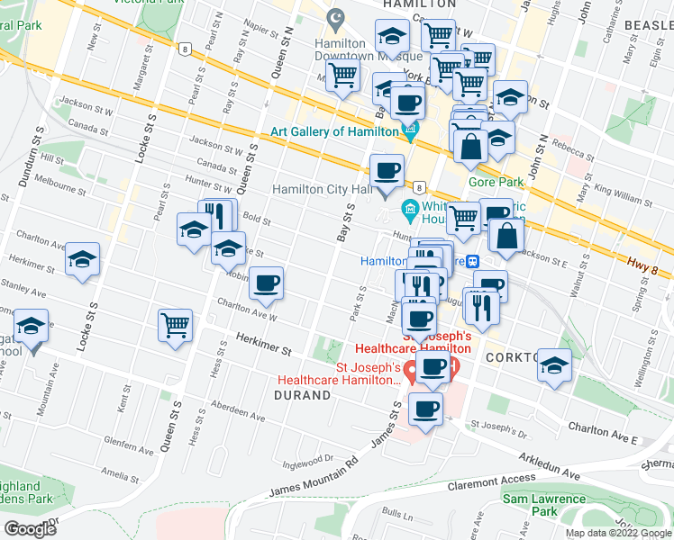 map of restaurants, bars, coffee shops, grocery stores, and more near 171 Bay Street South in Hamilton