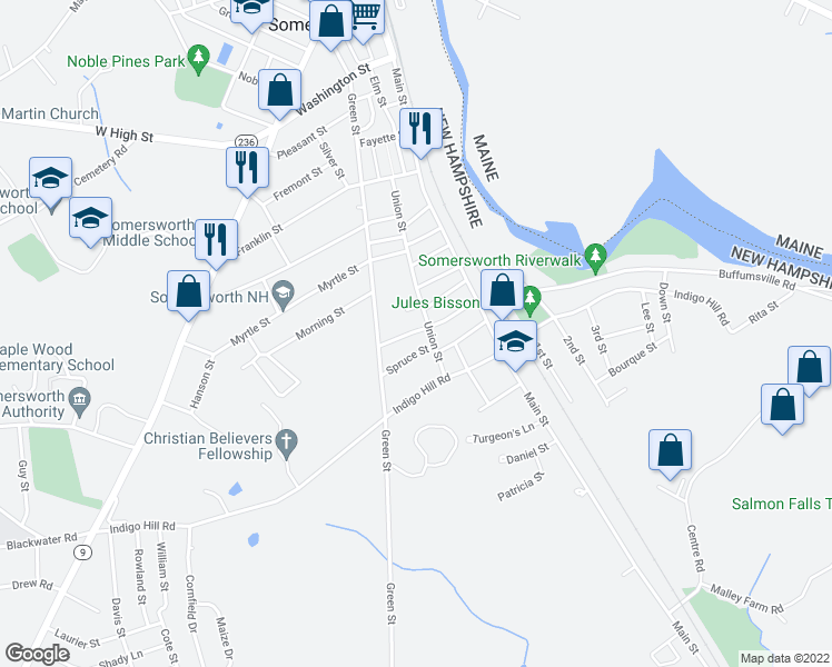 map of restaurants, bars, coffee shops, grocery stores, and more near 38 Mount Auburn Street in Somersworth