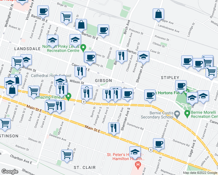 map of restaurants, bars, coffee shops, grocery stores, and more near 645 Wilson Street in Hamilton