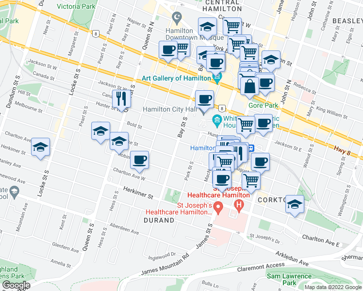 map of restaurants, bars, coffee shops, grocery stores, and more near 93 Bold Street in Hamilton
