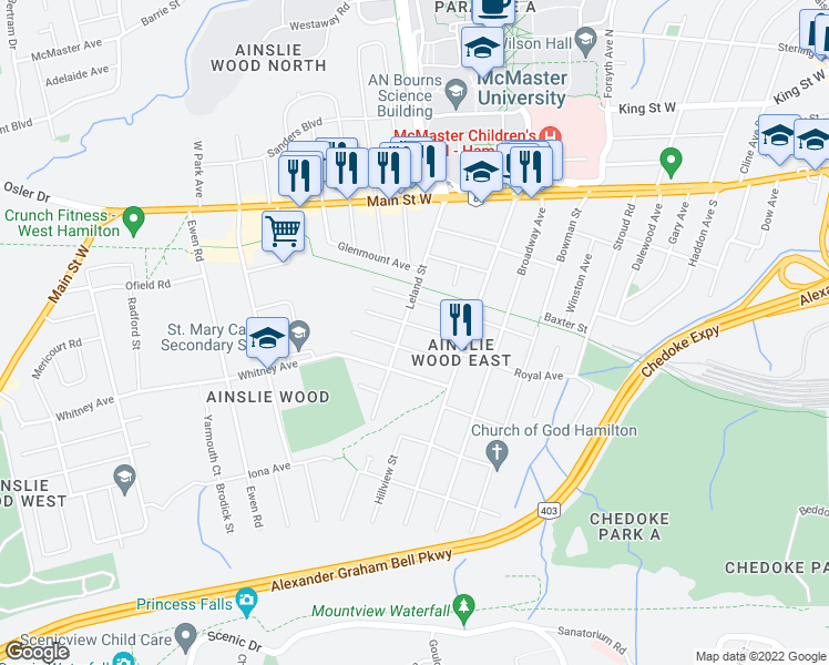 map of restaurants, bars, coffee shops, grocery stores, and more near 93 Royal Avenue in Hamilton