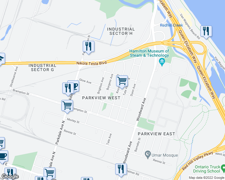 map of restaurants, bars, coffee shops, grocery stores, and more near 150 Glow Avenue in Hamilton