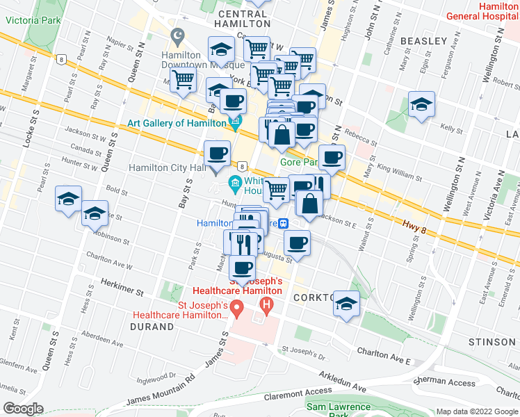 map of restaurants, bars, coffee shops, grocery stores, and more near 100 James Street South in Hamilton
