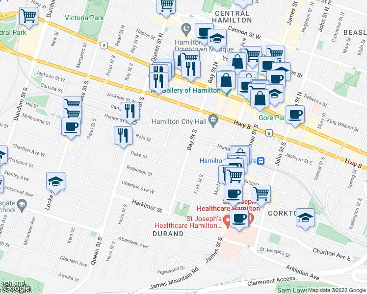 map of restaurants, bars, coffee shops, grocery stores, and more near 136 Bay Street South in Hamilton