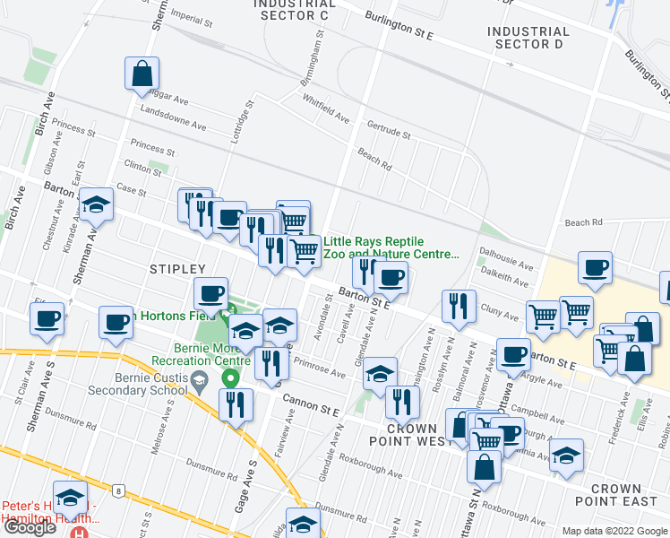 map of restaurants, bars, coffee shops, grocery stores, and more near 201 Avondale Street in Hamilton