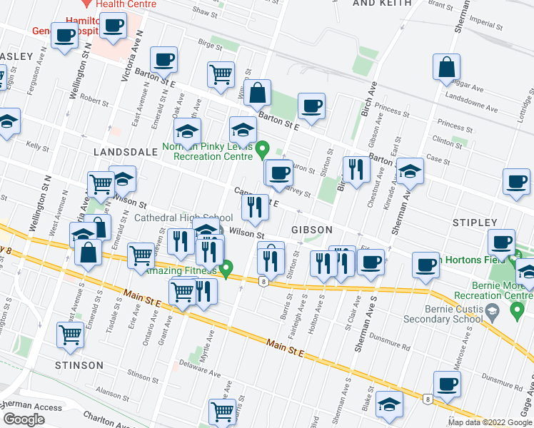 map of restaurants, bars, coffee shops, grocery stores, and more near 90 Sanford Avenue North in Hamilton