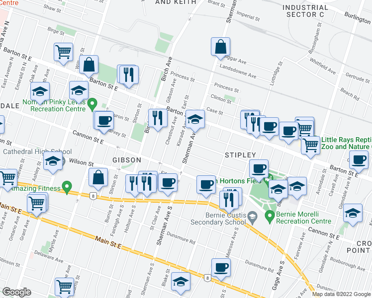 map of restaurants, bars, coffee shops, grocery stores, and more near 103 Sherman Avenue North in Hamilton