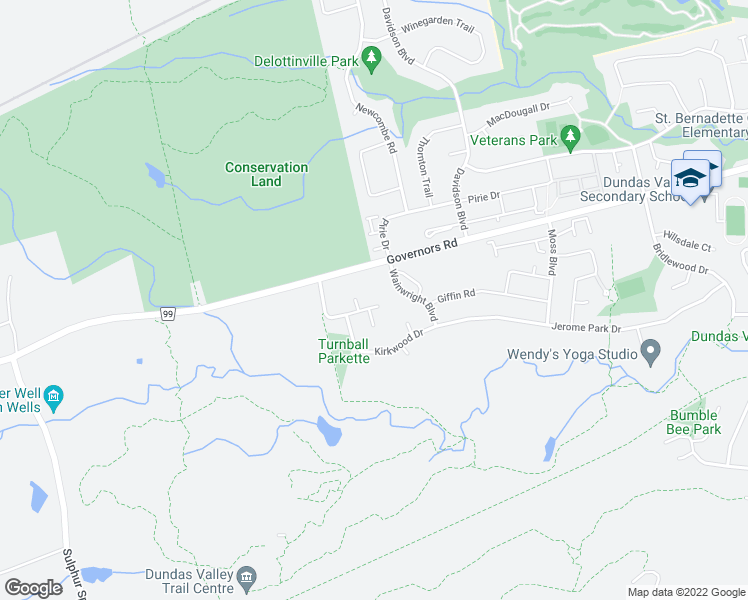 map of restaurants, bars, coffee shops, grocery stores, and more near 11 Ridgewood Boulevard in Hamilton