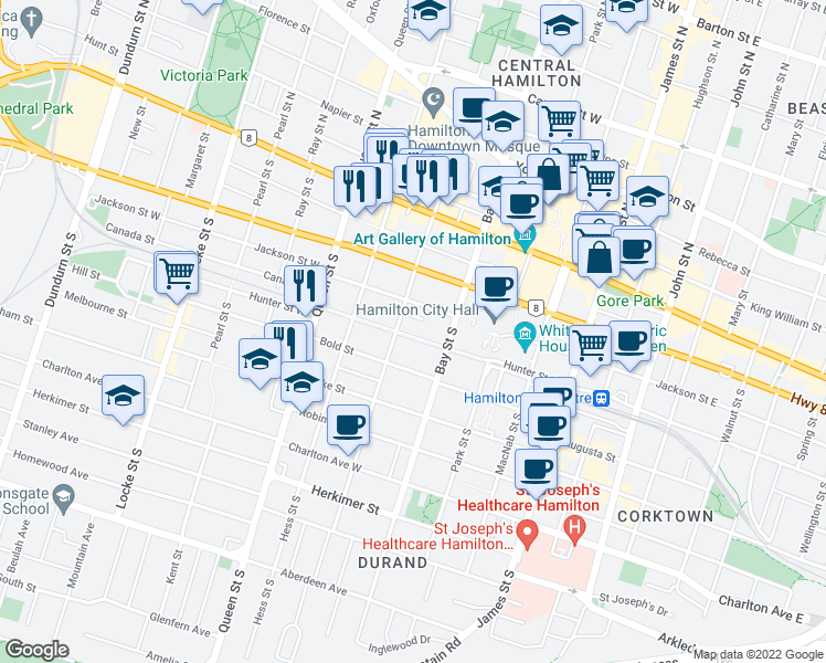 map of restaurants, bars, coffee shops, grocery stores, and more near 15 Wesanford Place in Hamilton