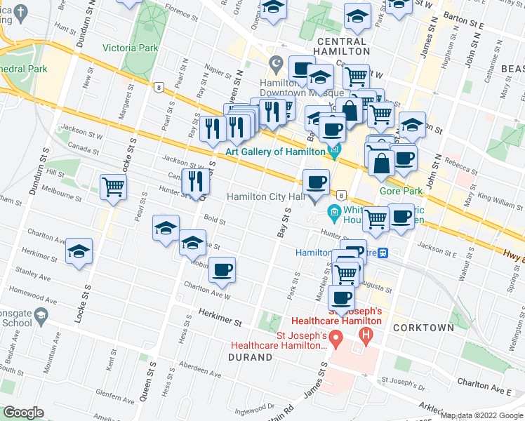 map of restaurants, bars, coffee shops, grocery stores, and more near 138 Hunter Street West in Hamilton