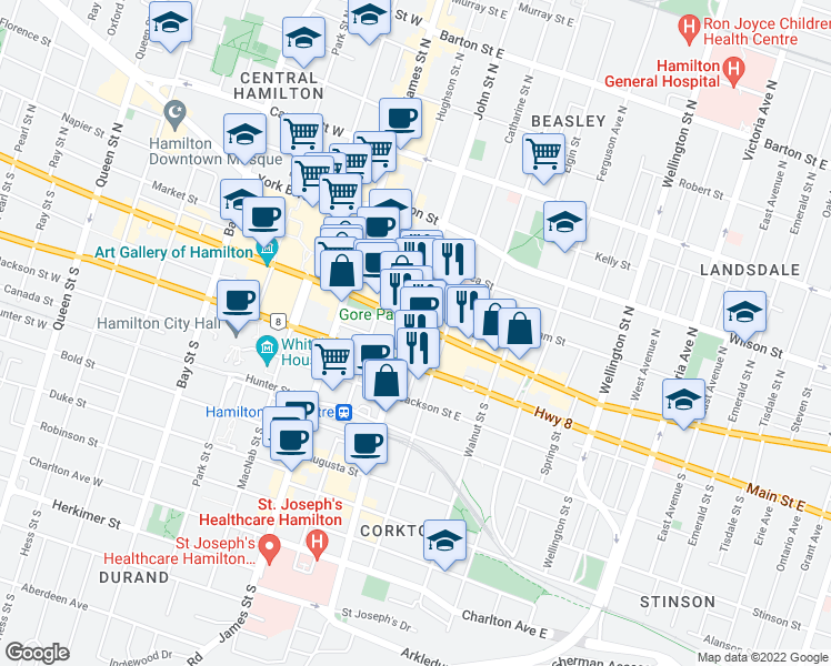 map of restaurants, bars, coffee shops, grocery stores, and more near 112 King Street East in Hamilton