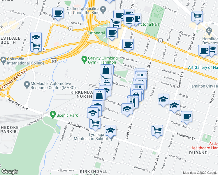map of restaurants, bars, coffee shops, grocery stores, and more near 211 Dundurn Street South in Hamilton