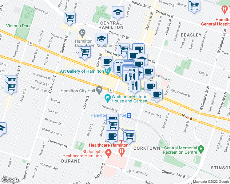 map of restaurants, bars, coffee shops, grocery stores, and more near 27 Main Street West in Hamilton
