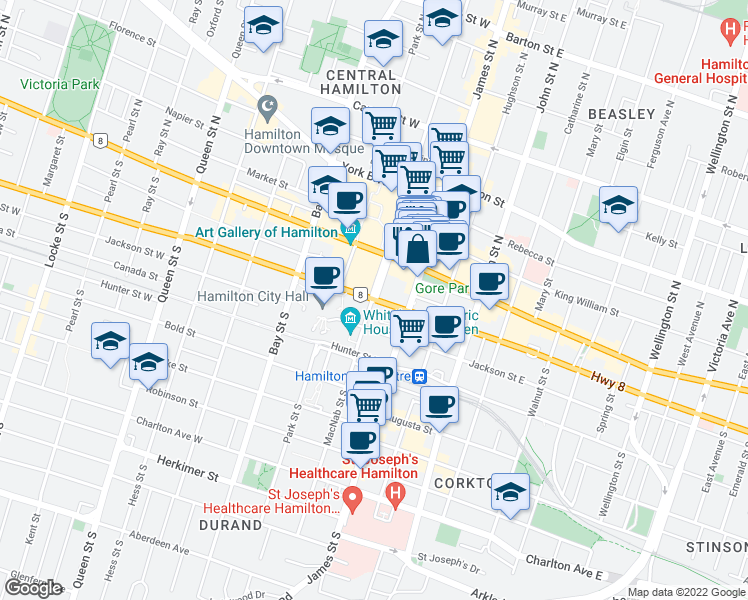 map of restaurants, bars, coffee shops, grocery stores, and more near 292 Dundas Street East in Hamilton