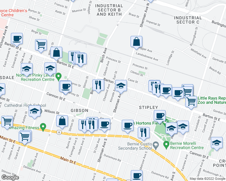 map of restaurants, bars, coffee shops, grocery stores, and more near 73 Kinrade Avenue in Hamilton