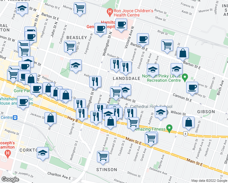 map of restaurants, bars, coffee shops, grocery stores, and more near 96 Victoria Avenue North in Hamilton