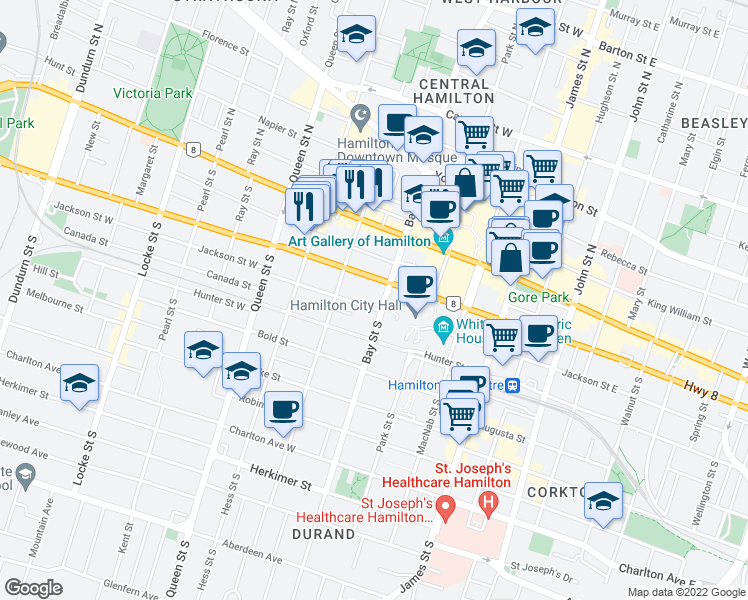 map of restaurants, bars, coffee shops, grocery stores, and more near 100 Bay Street South in Hamilton