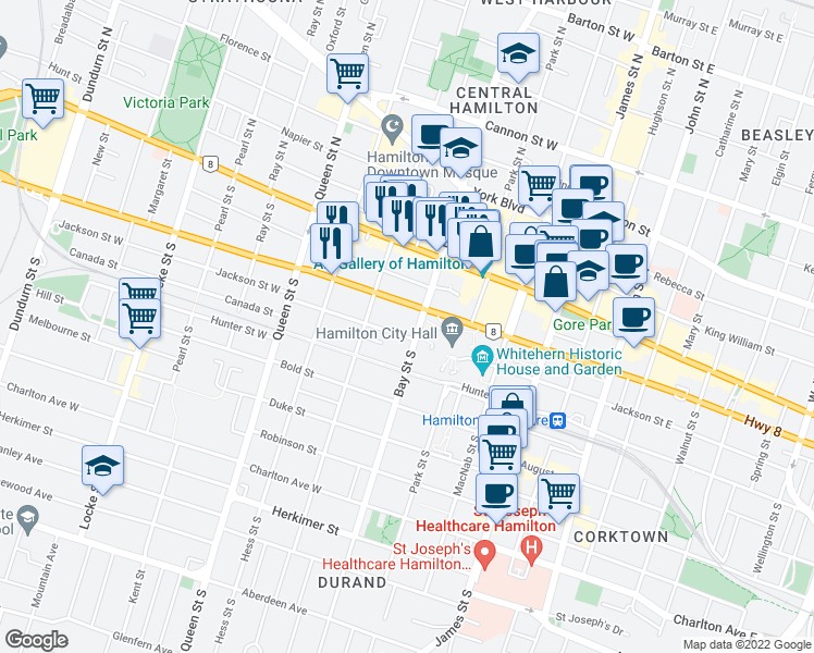 map of restaurants, bars, coffee shops, grocery stores, and more near 301 Bay Street South in Hamilton