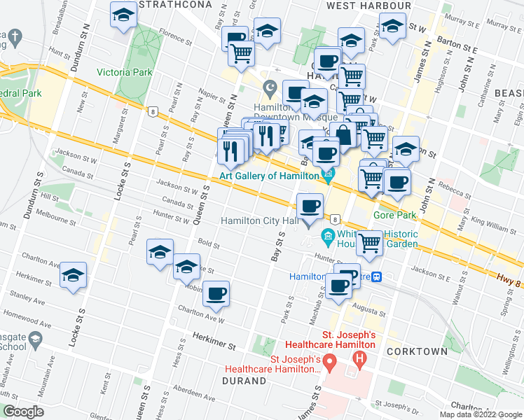 map of restaurants, bars, coffee shops, grocery stores, and more near 163 Main Street West in Hamilton