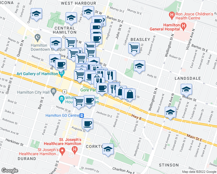 map of restaurants, bars, coffee shops, grocery stores, and more near 52 Catharine Street North in Hamilton