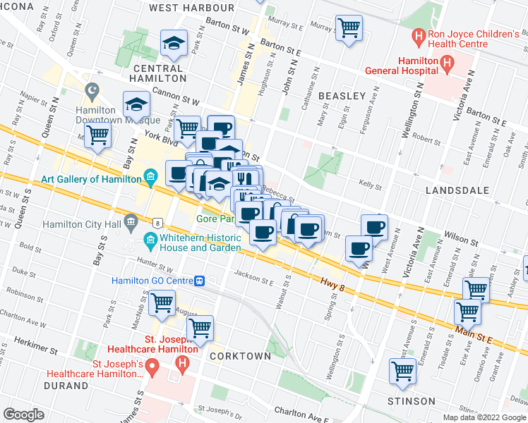 map of restaurants, bars, coffee shops, grocery stores, and more near 80 King William Street in Hamilton