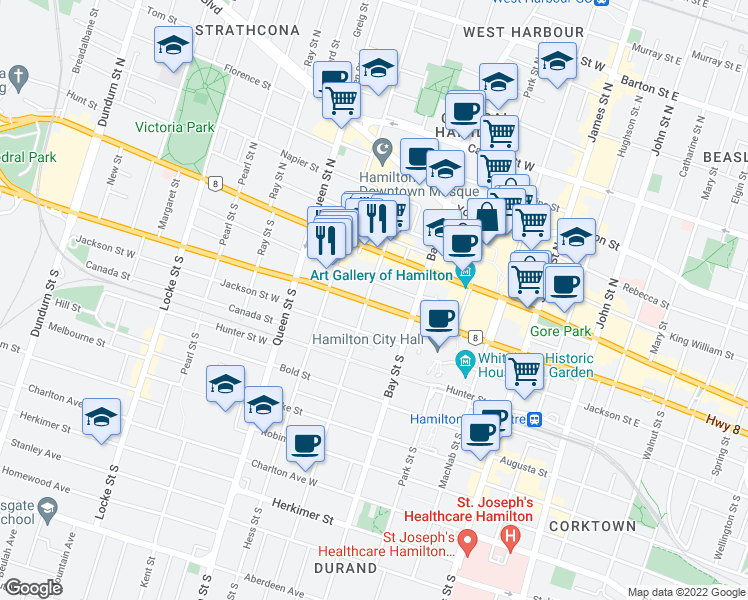 map of restaurants, bars, coffee shops, grocery stores, and more near 1007 Main Street West in Hamilton