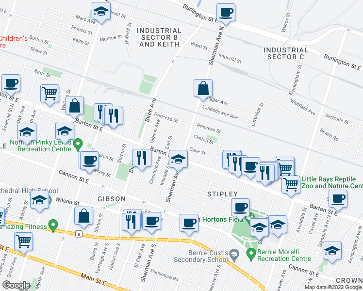map of restaurants, bars, coffee shops, grocery stores, and more near 181 Sherman Avenue North in Hamilton