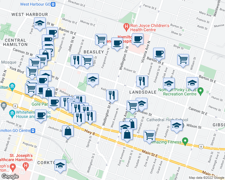 map of restaurants, bars, coffee shops, grocery stores, and more near 131 Wellington Street North in Hamilton