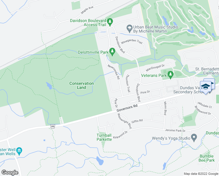 map of restaurants, bars, coffee shops, grocery stores, and more near 20 Linington Trail in Hamilton