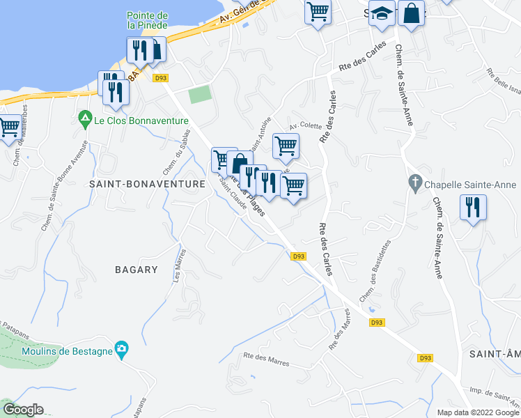 map of restaurants, bars, coffee shops, grocery stores, and more near 39 Route des Plages in Saint-Tropez