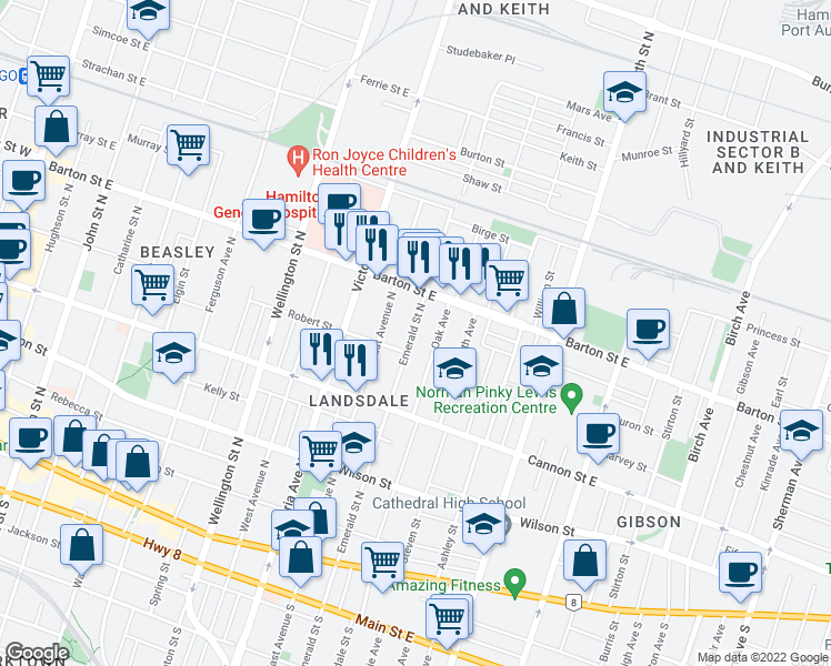 map of restaurants, bars, coffee shops, grocery stores, and more near 226 Emerald Street North in Hamilton