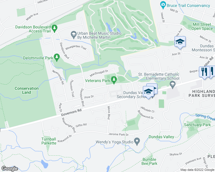 map of restaurants, bars, coffee shops, grocery stores, and more near 11 Pirie Drive in Hamilton