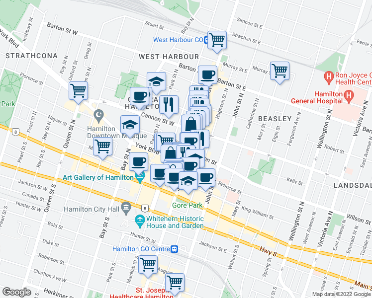 map of restaurants, bars, coffee shops, grocery stores, and more near 97 James Street North in Hamilton