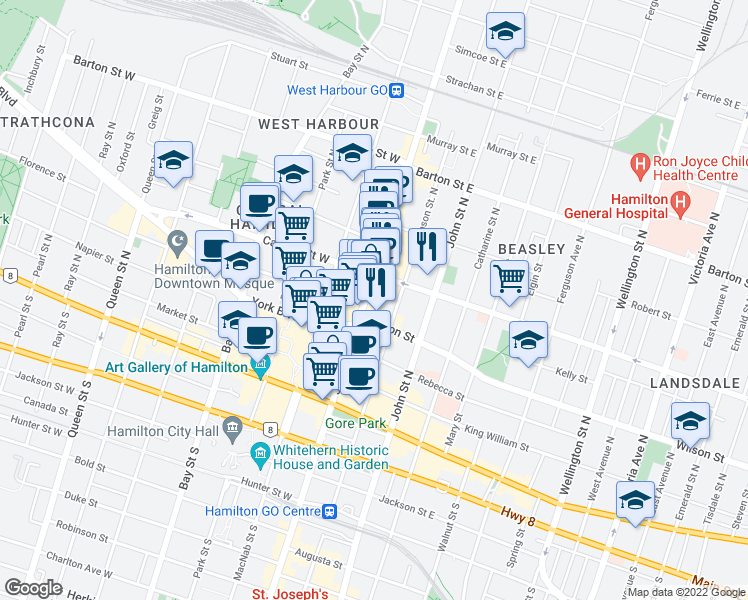 map of restaurants, bars, coffee shops, grocery stores, and more near 201 James Street North in Hamilton