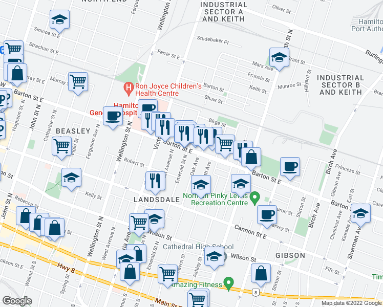 map of restaurants, bars, coffee shops, grocery stores, and more near 352 Barton Street East in Hamilton