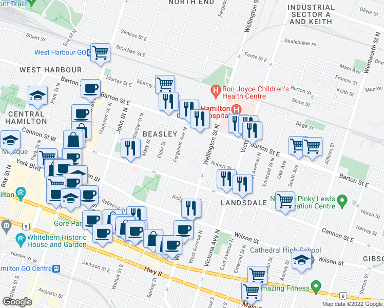 map of restaurants, bars, coffee shops, grocery stores, and more near 147 Cathcart Street in Hamilton