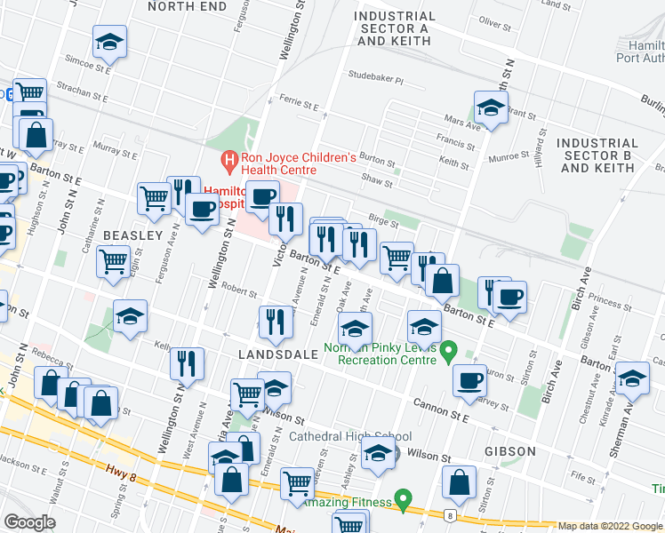 map of restaurants, bars, coffee shops, grocery stores, and more near 341 Barton Street East in Hamilton