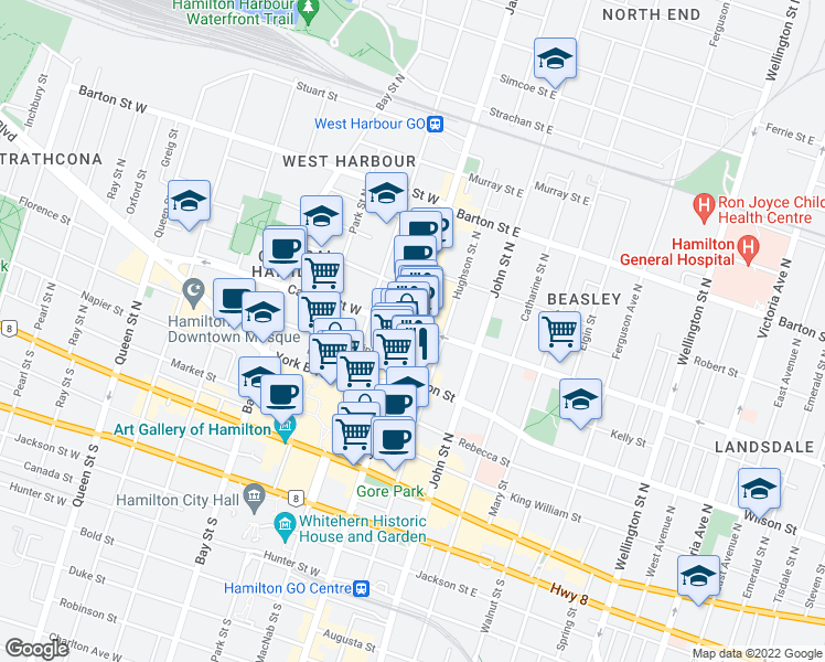 map of restaurants, bars, coffee shops, grocery stores, and more near 154 James Street North in Hamilton