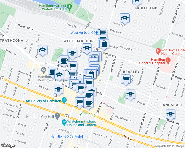 map of restaurants, bars, coffee shops, grocery stores, and more near 181 James Street North in Hamilton