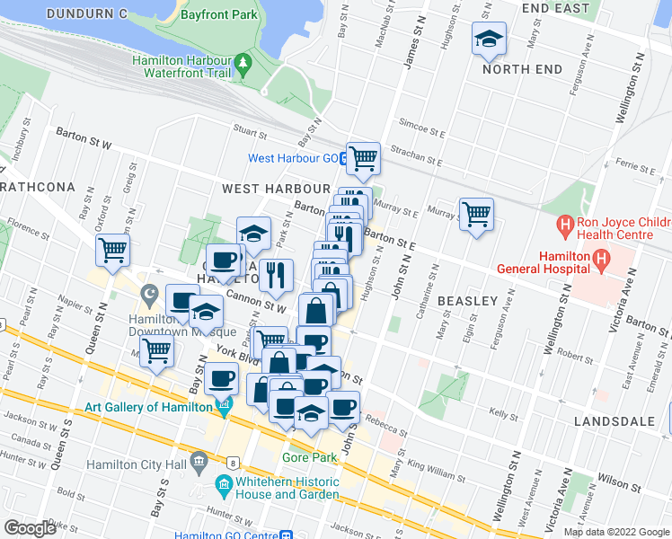 map of restaurants, bars, coffee shops, grocery stores, and more near 18 Severn Street in Hamilton