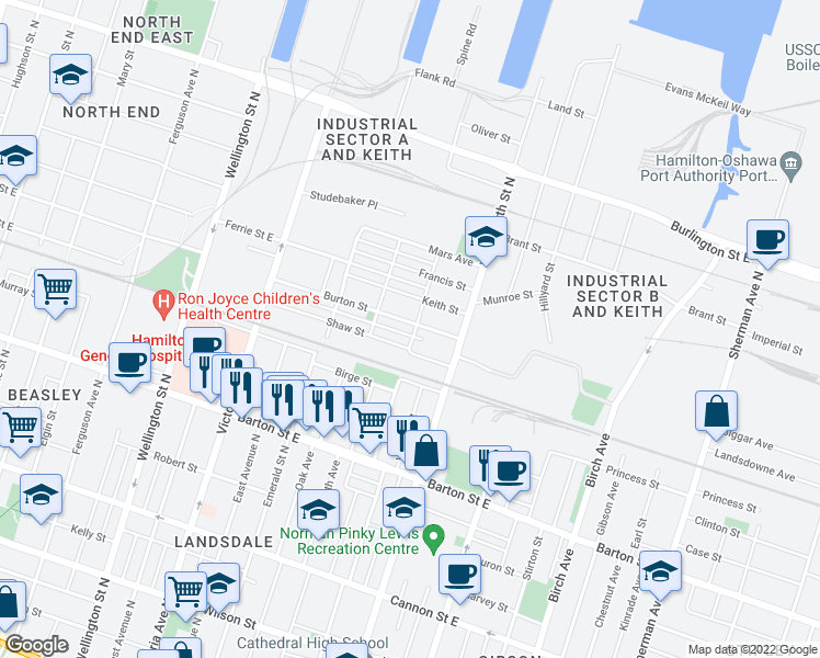 map of restaurants, bars, coffee shops, grocery stores, and more near 101 Cheever Street in Hamilton