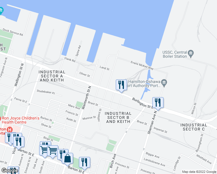 map of restaurants, bars, coffee shops, grocery stores, and more near 573 Burlington Street East in Hamilton